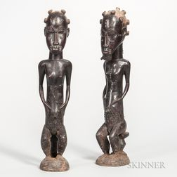 Pair of Baule-style Carved Wood Male and Female Figures