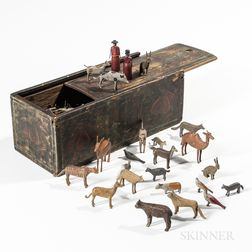 Paint-decorated Slide-lid Box with Carved and Painted Noah's Ark Figures