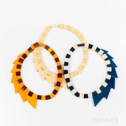 Three Galalith Polychrome Necklaces