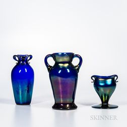 "Three Imperial Art Glass ""Free Hand"" Vases"