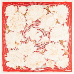 "Framed Hermes ""Les Pivoines"" Red and Cream Silk Scarf"