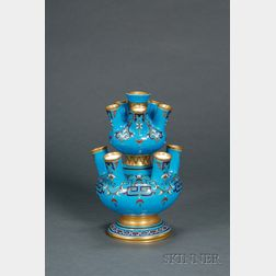 Christopher Dresser Design Minton Bone China Pseudo-Cloisonne Vase