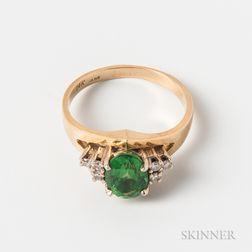 14kt Gold, Green Garnet, and Diamond Ring