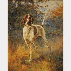 Percival Leonard Rosseau (American, 1859-1937)      Stylish Mack  /Portrait of a Pointer in a Landscape