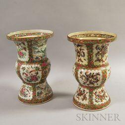 Two Rose Medallion Ku-form Porcelain Vases