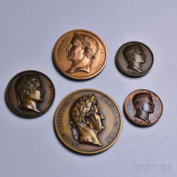 Five Napoleon Bronze and Copper Medal Restrikes