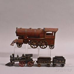 Two Painted Metal Toy Locomotives
