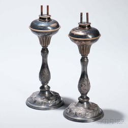 Pair of Silvered Pewter Fluid Lamps