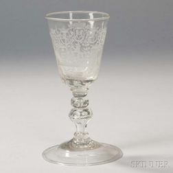 Continental Engraved Armorial Glass Goblet