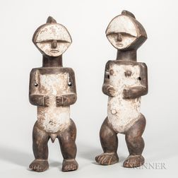 Pair of Mbete-style Reliquary Male and Female Figures