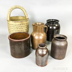 Six Pieces of Stoneware and Redware