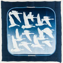 "Framed Hermes ""Oiseaux Migrateurs"" Blue Silk Scarf"