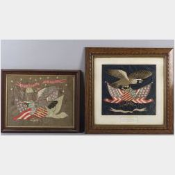 Two Embroidered Silk Patriotic Eagle Pictures