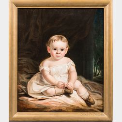 American School, 19th Century      Portrait of a Child Wearing Brown Shoes