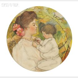 Joseph Henry Hatfield (Canadian/American, 1863-1928)      Admiring the Locket (Mother and Child)