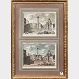Giuseppe Vasi (Italian, 1710-1782)      Two Engravings of Piazza di Colonna Trajana   in a Common Frame