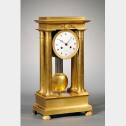 Gilt Portico Mantel Clock by Charles Rolland