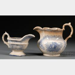 Blue Transfer-decorated Anti-Slavery Ironstone Pitcher and a Small Pitcher