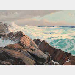 Rockwell Smith Brank, Jr. (American, b. 1917)      Sunlit Rocks