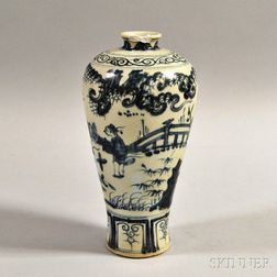 Blue and White Ceramic Meiping Vase