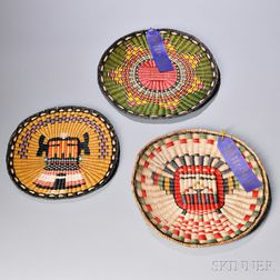 Three Contemporary Hopi Polychrome Wicker Plaques