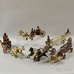 Four Painted Cast Iron Horse-drawn Fire Pumper Wagons