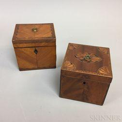 Two Small Georgian Inlaid Mahogany and Satinwood Veneer Tea Caddies