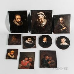 Ten Small Dutch School Portraits of Men and Women