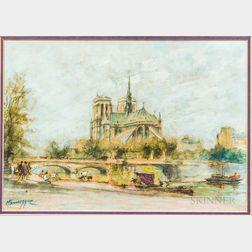 John Hansegger (Swiss/American, 1908-1989)       View of Notre Dame