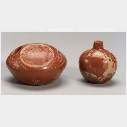 Two Contemporary Carved Pottery Vessels