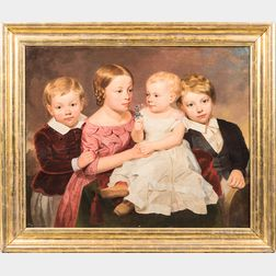 American School, Mid-19th Century      Portrait of Four Children, Possibly New York