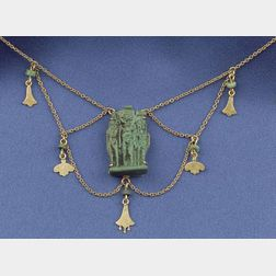 Antique 14kt Gold and Ancient Egyptian Faience Festoon Necklace