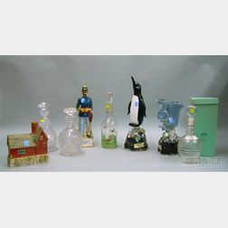 Eight Assorted Glass and Ceramic Liquor Decanters