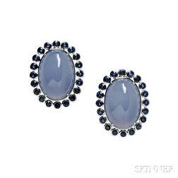 Blue Chalcedony and Sapphire Earrings
