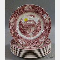 Set of Nine 1932 Wedgwood New York University Ceramic Dinner Plates