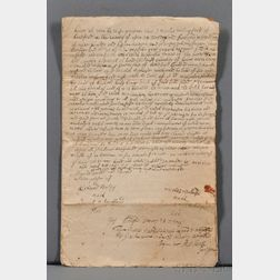 Sewall, Stephen Senior (c. 1657-1725) Land Deed Signed, 18 December 1712.