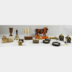 Eighteen Assorted Metal, Ceramic, and Wood Decorative Items