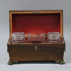 Regency Rosewood Veneer Footed Tea Caddy