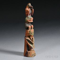 Northwest Coast Polychrome Carved Wood Model Totem Pole