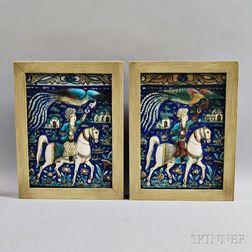 Pair of Framed Iznik-style Glazed Tiles