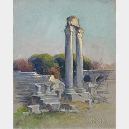 Mabel May Woodward (American, 1877-1945)    Two Watercolors: Gothic Ruins