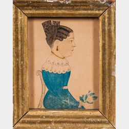 J.M. Crowley (American, 19th Century)      Miniature Profile Portrait of a Woman in a Chair