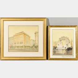 Cyril A. Farey (British, 1888-1954) and Augustus Bryett (British, 1890-1963)      Two Architectural Watercolor Renderings