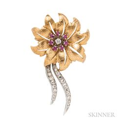 18kt Gold, Diamond, and Ruby Brooch