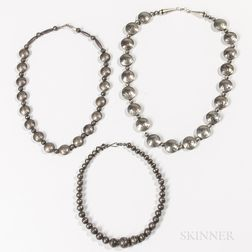 Three Navajo Silver and Coin Necklaces