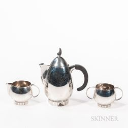 Frank Smith Art Deco-style Three-piece Sterling Silver Tea Set