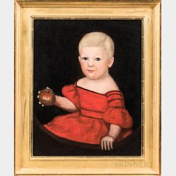 American School, 19th Century      Portrait of a Child in a Red Dress Holding an Apple