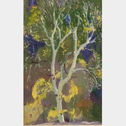 William Herbert (Buck) Dunton (American, 1878-1936)    Decorative Landscape, Aspen No. 3