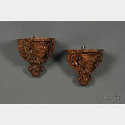 Pair of Baroque-style Carved Oak Wall Brackets