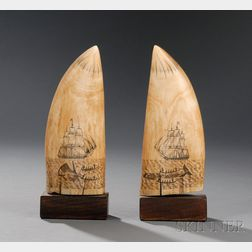 Pair of Scrimshaw Whale's Teeth Engraved with Whaling Scenes
